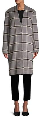 Pure Navy Plaid Wool Coat