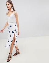 Nobody's Child Midi Skirt With Front Splits In Polka Dot