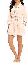 Kate Spade Make Me Blush Embroidered Jersey Wrap Robe