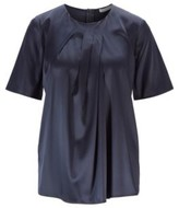 HUGO BOSS - Regular Fit Top With Pleated Neckline In Stretch Silk - Open Blue