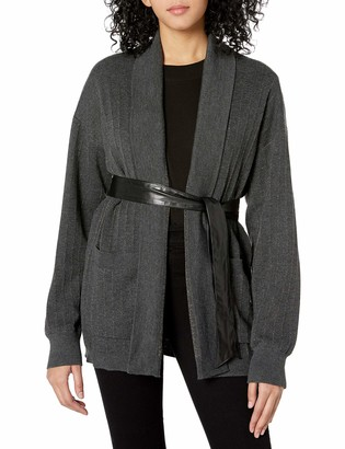Bailey 44 Women's Sweater Knit Coat with Shimmer Stripe Detail and Faux Leather Removeable Belt