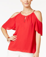 Thalia Sodi Lace-Up Cold-Shoulder Top, Created for Macy's