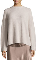 Vince Ladder-Stitched Funnel-Neck Cashmere-Blend Sweater, Hazel