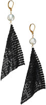 Kuo Ting Jewelry Pearl with Black Mesh Disco Earrings : Kuo Ting Jewelry Women