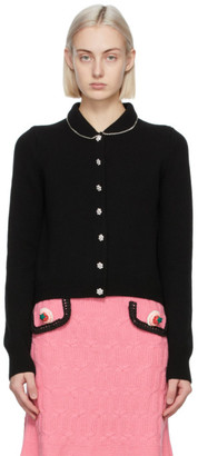 Marc Jacobs Black Wool The Jewelled Button Cardigan