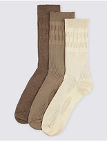 M&s Collection 3 Pairs Of Freshfeettm Non Elastic Socks