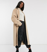 Asos Tall DESIGN Tall contrast stitch coat with buckle detail