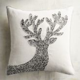 Pier 1 Imports Silver & White Beaded Reindeer Pillow