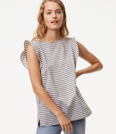 LOFT Striped Tie Back Flutter Top
