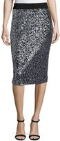 Milly Sequined Pencil Midi Skirt, Black