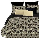 Veratex 100% Polyester Fully Reversible 4-Piece Modern Flower Skull Comforter Set, Queen Size, Multicolor