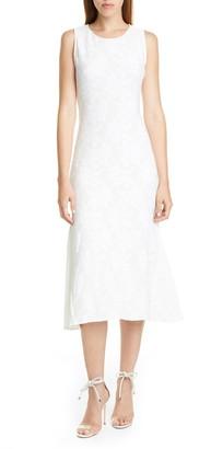 Fuzzi Floral Rib Sleeveless Midi Dress