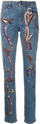 Etro Buckle-Print Slim Fit Jeans