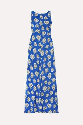By Malene Birger Floral-print Crepe De Chine Maxi Dress - Royal blue