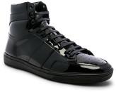 Saint Laurent Signature Court Classic SL/10H Leather Hi-Top Sneaker in Black & Black | FWRD