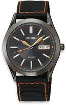 Seiko Men's Solar Black Dial Stainless Steel Watch with Nylon Strap
