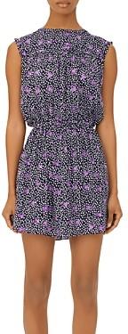 Maje Rollette Printed Smocked Waist Mini Dress