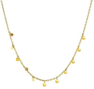 Overstock Choker Necklace with Hammered Beads in 14k Yellow Gold