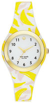 Kate Spade Goldtone Stainless Steel and Banana Print Silicone Strap Watch