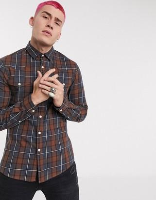 Asos DESIGN long sleeve slim fit western shirt in brown check