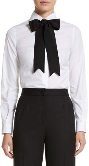 Dolce & Gabbana Cotton Poplin Blouse with Bow