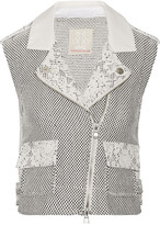 Rebecca Taylor Leather-trimmed honeycomb-weave west