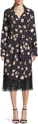 Lela Rose Double-Breasted Floral-Print Wrap Dress with Lace Hem