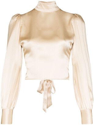 Reformation Cielo gathered silk-satin blouse