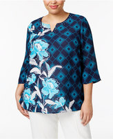 Alfred Dunner Plus Size Scenic Route Collection Embellished Printed Top