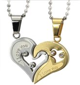 "Daesar His & Hers Necklace Set Stainless Steel Heart Puzzle Pendant "" I love you"" CZ Pendant Necklace"