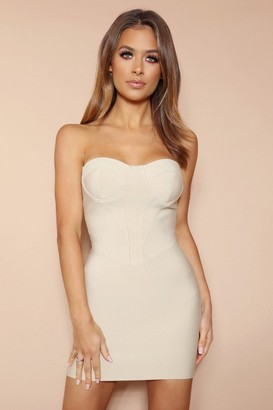 LEMONLUNAR The Titania Beige Bandage Mini Dress