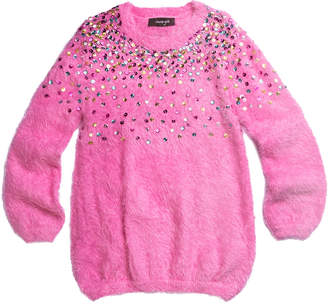 Imoga Long-Sleeve Yarn Tunic w/ Rainbow Ombre Sequin Detail, Size 7-14