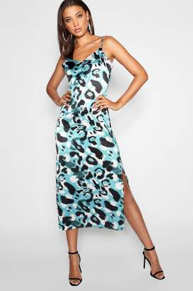 boohoo Tall Leopard Print Satin Midi Dress