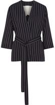 Acne Studios Jada Belted Pinstriped Wool Blazer - Navy