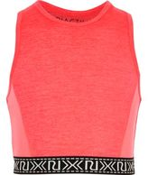 River Island Girls RI Active pink marl sports crop top