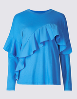 Limited Edition Pure Cotton Ruffle Front T-Shirt