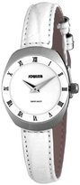 Jowissa Women's J4.088.M Como Stainless Steel White Genuine Leather Roman Numeral Watch