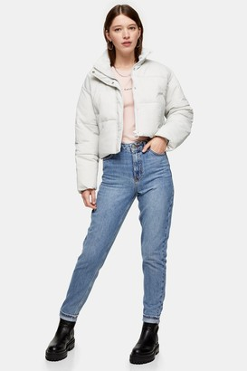 Topshop Womens Mid Blue Raw Waistband Mom Jeans - Mid Stone