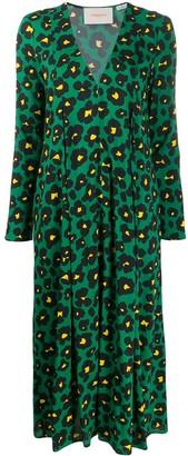 La DoubleJ Trapezio floral leopard print dress