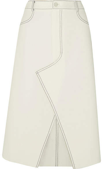 Dion Lee Shadow Stitch Bonded Crepe Midi Skirt - Ivory