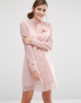 Fashion Union Shirt Dress With Sheer Layer And Bow Collar