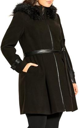 City Chic High Living Faux Fur Trim Coat