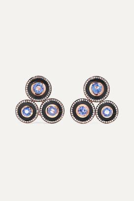 Selim Mouzannar Mina 18-karat Rose Gold, Enamel, Sapphire And Diamond Earrings