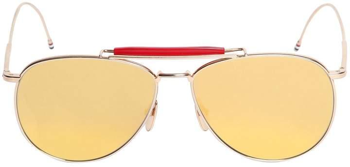 Thom Browne Gold Mirrored Aviator Sunglasses