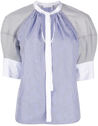 Chloé Puff Sleeve Striped Cotton Blouse