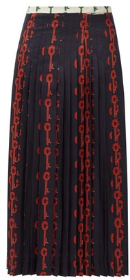 La Prestic Ouiston Gabrielle Good Luck-print Pleated Silk Skirt - Black Red