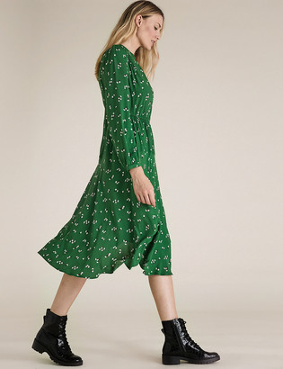 Marks and Spencer Floral Shirred Shoulder Midi Waisted Dress