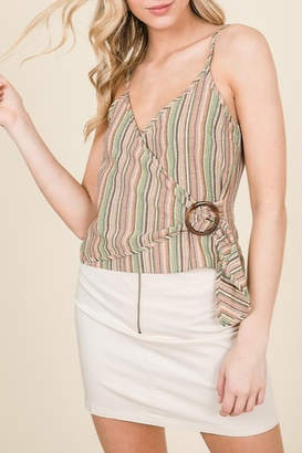 Lumiere Buckle Detail Wrap Tank