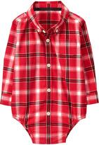 Gymboree Red Plaid Button-Up Bodysuit - Infant