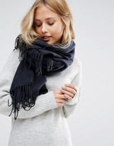 Pieces Woven Herringbone Scarf with Tassels in Navy